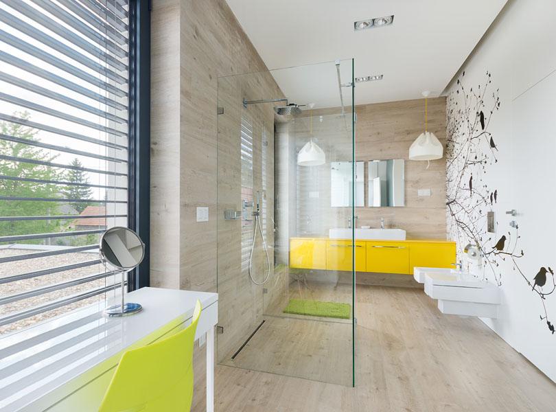 projektowanie wnętrz - sypialnia połączona z łazienką