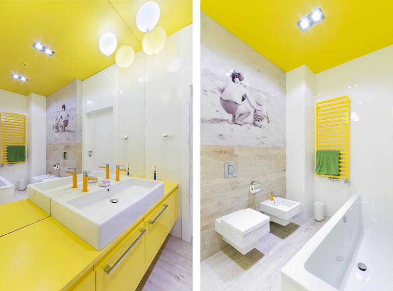 projektowanie wnętrz - dom z kolorowymi dodatkami, łazienka dla dzieci