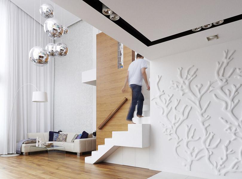 projektowanie wnętrz - apartament z koralowcem i fornirem orzechowym