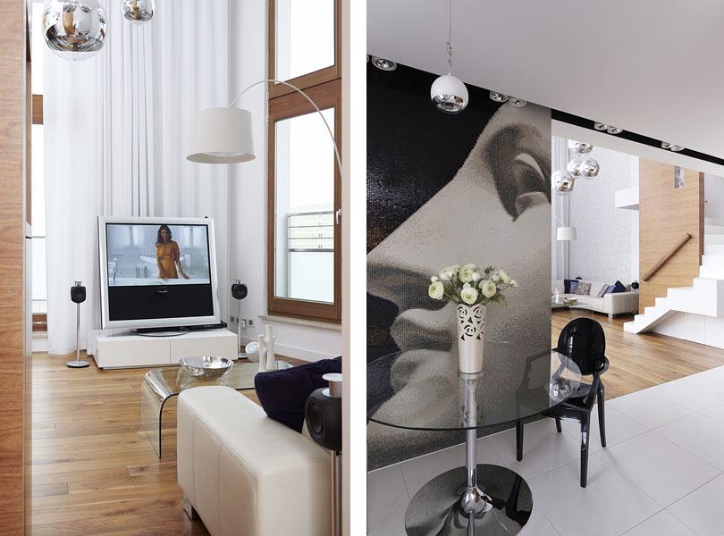 projektowanie wnętrz - apartament z koralowcem i fornirem orzechowym, mozaika bisazza