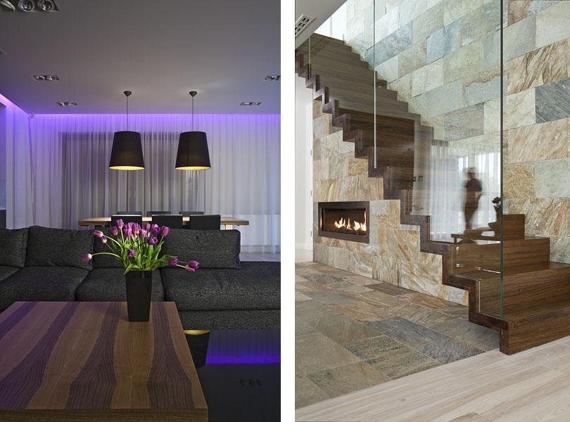 projektowanie wnętrz - inteligentny dom, szklana balustrada