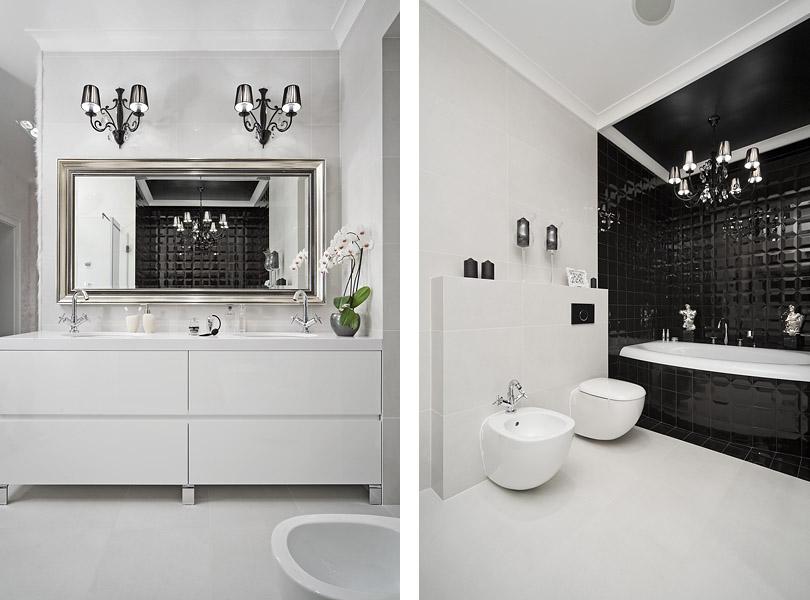 projektowanie wnętrz - inteligentny dom z łazienką glamour