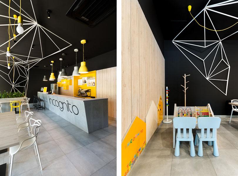 projektowanie wnętrz restauracji - restauracja Incognito Sieradz