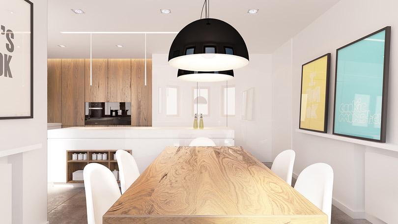 projektowanie wnętrz - kuchnia z fornirem orzechowym