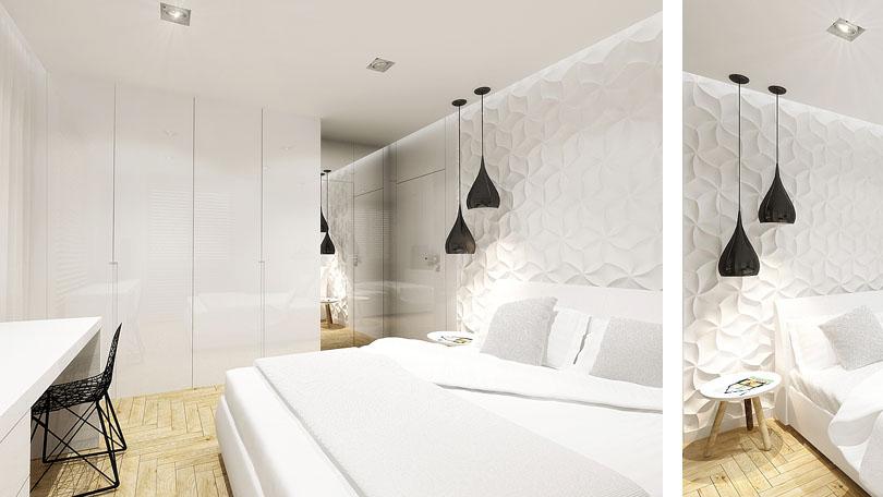 projektowanie wnętrz - biała sypialnia