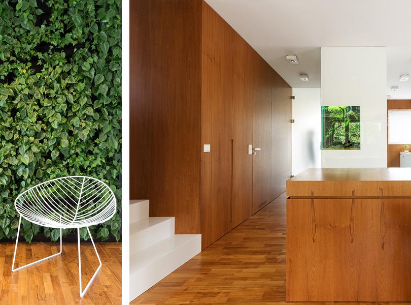 projektowanie wnętrz - dom z zieloną ścianą i fornirem teak