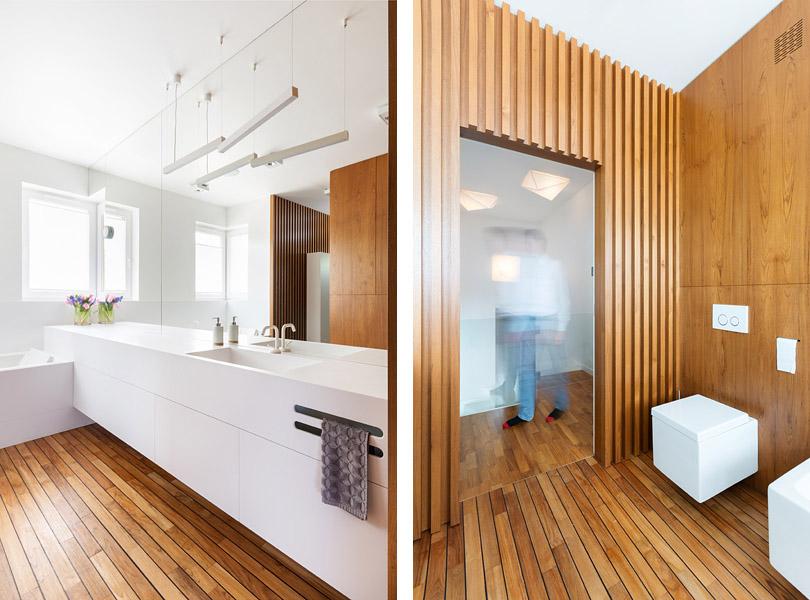 projektowanie wnętrz - łazienka teak i corian