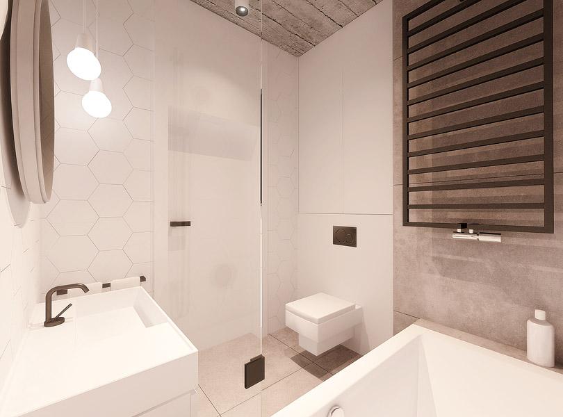 rojektowanie wnętrz - łazienka w lofcie