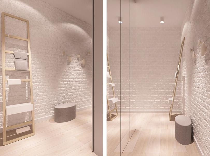 białe cegły w korytarzu