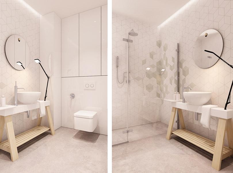 płytki geometryczne w łazience