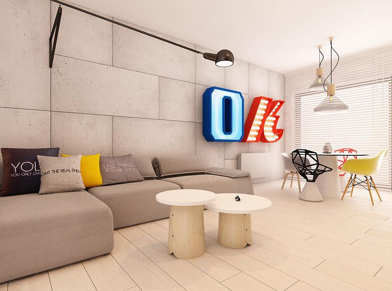 salon z betonem na ścianie