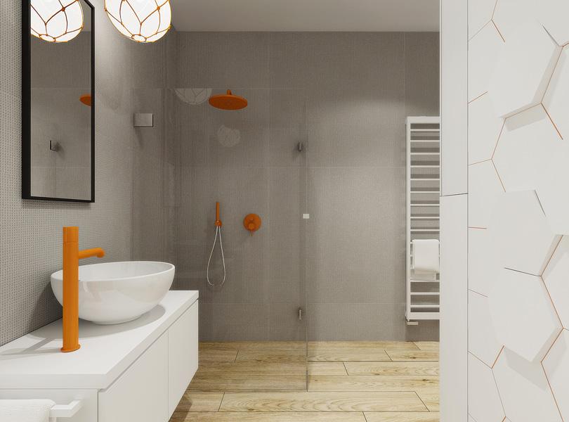 młodzieżowa łazienka z akcentem kolorystycznym