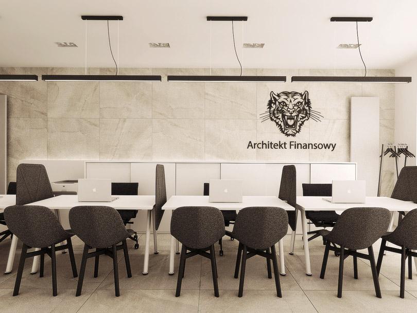 strefa obsługi klienta, projekt biura, krzesła noti
