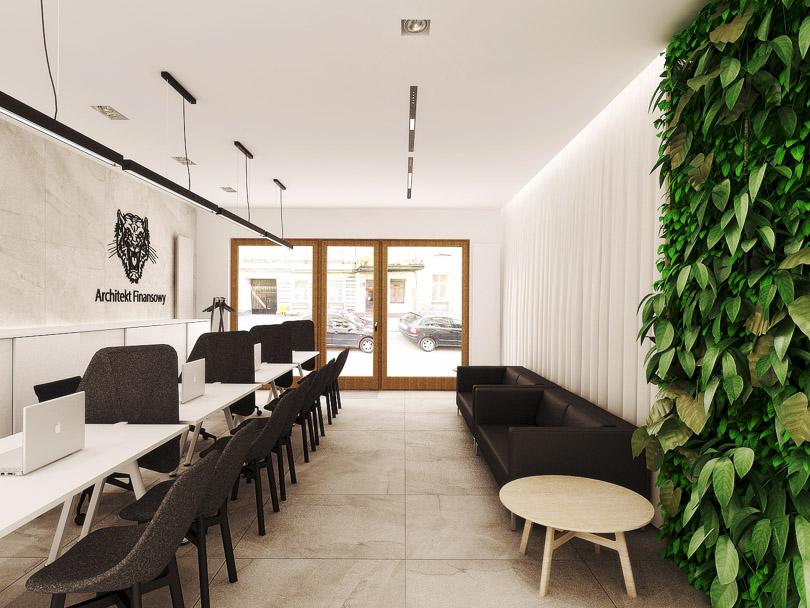 zielona ściana w biurze, gresy wielkoformatowe na podłodze i ścianie