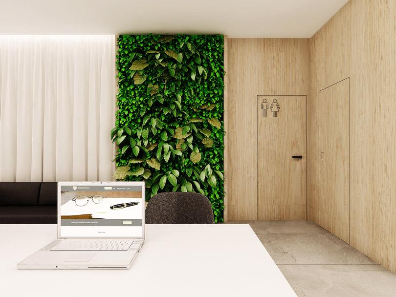 zielona ściana w biurze, drzwi fornirowane licowane