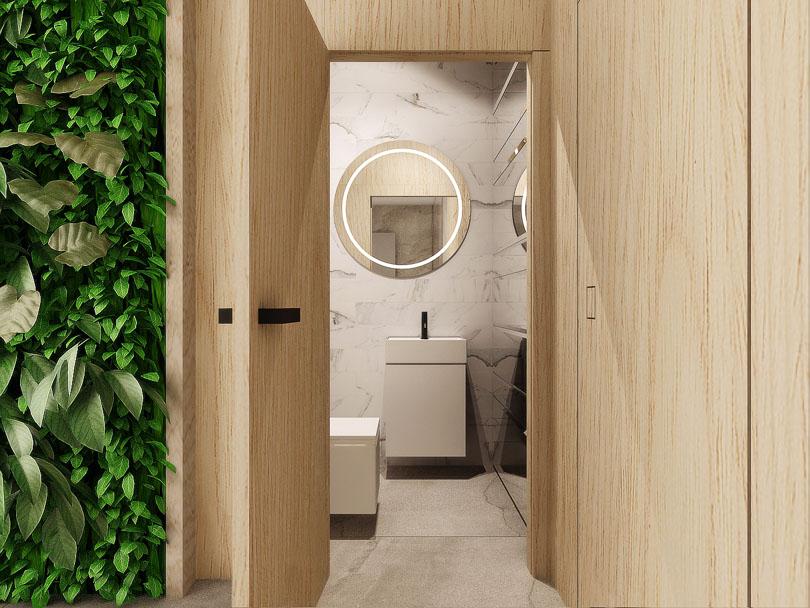łazienka w biurze, biały marmur i lustra