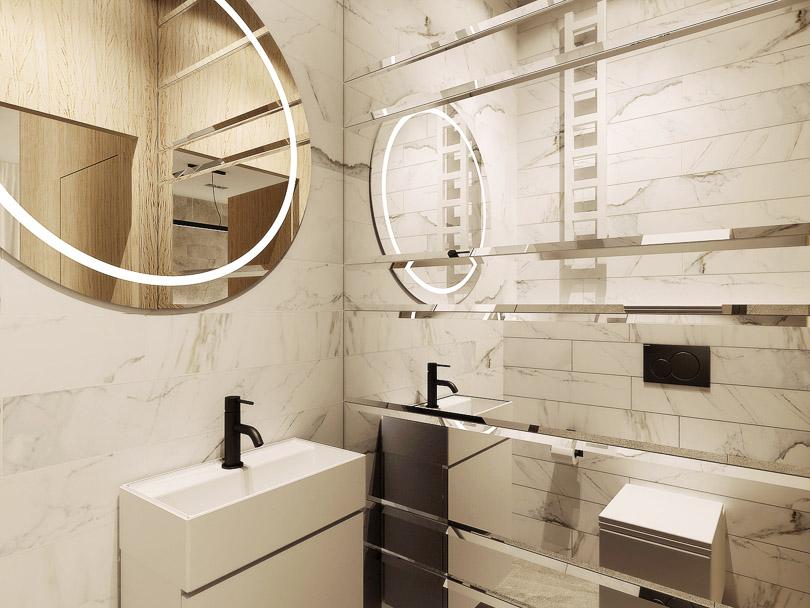 lustra fazowane w łazience, biały marmur
