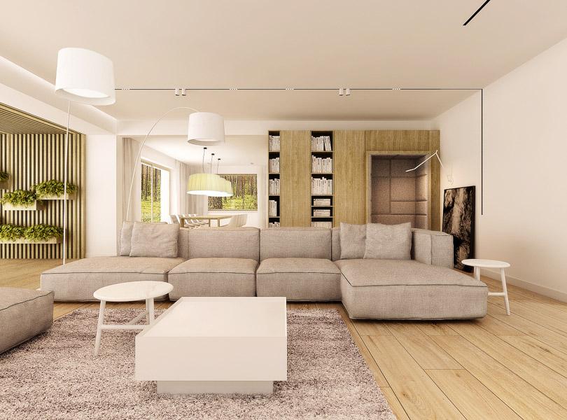 salon z modułową sofą oraz dużymi deskami dębowymi