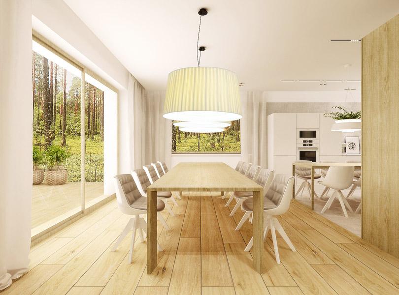 jadalnia połączona z kuchnią, duże lampy nad stołem