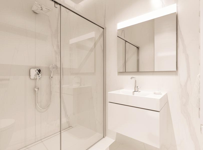 biała łazienka ze spiekami imitującymi marmur