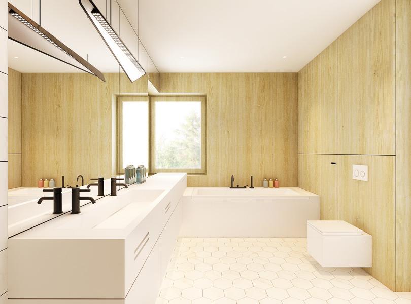 funkcjonalna łazienka, blat i zabudowa wanny wykonane z corianu