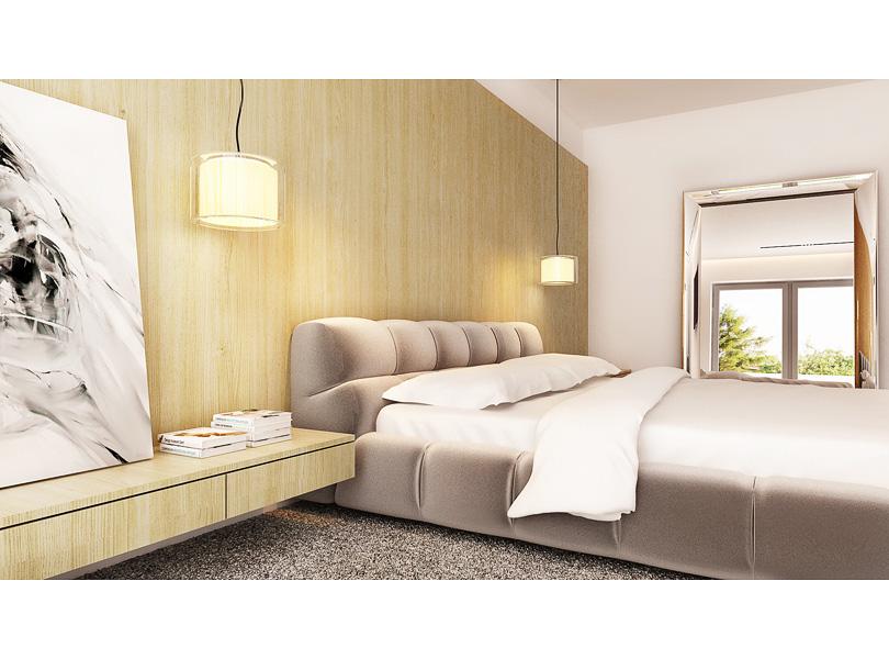 lustro fiam caadre, b&b italia tufty-bed, płyty fornirowane na ścianie
