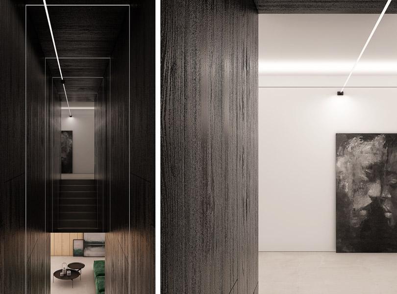 minimalistyczna klatka schodowa i korytarz, czarny fornir na ścianach