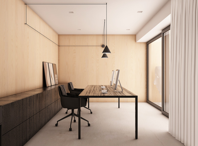 minimalistyczne miejsce pracy, nowoczesny gabinet
