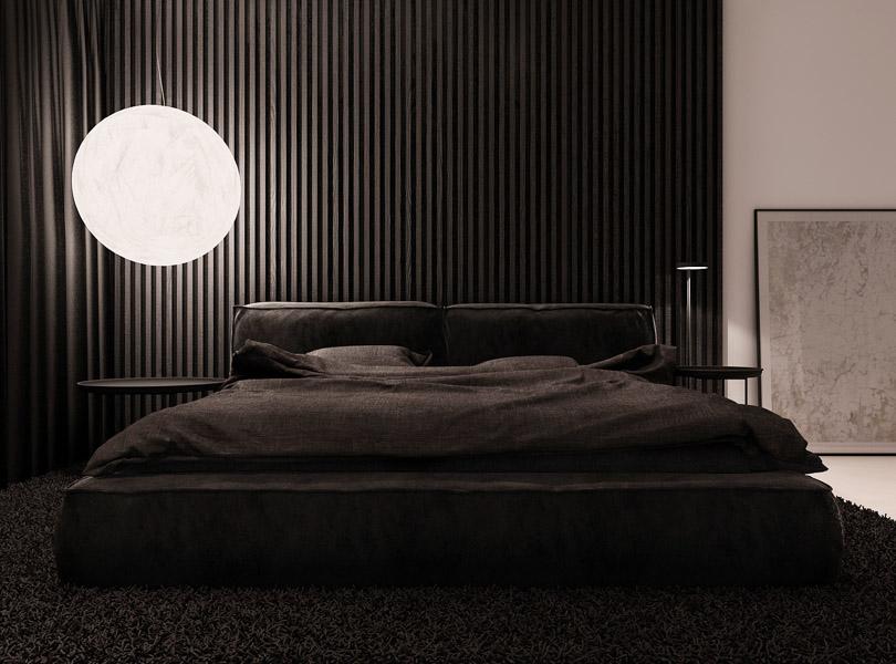 ciemna, minimalistyczna sypialnia