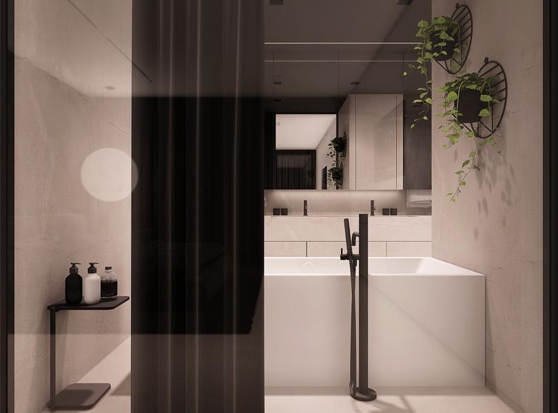 łazienka z wanną wolnostojącą, widok z sypialni