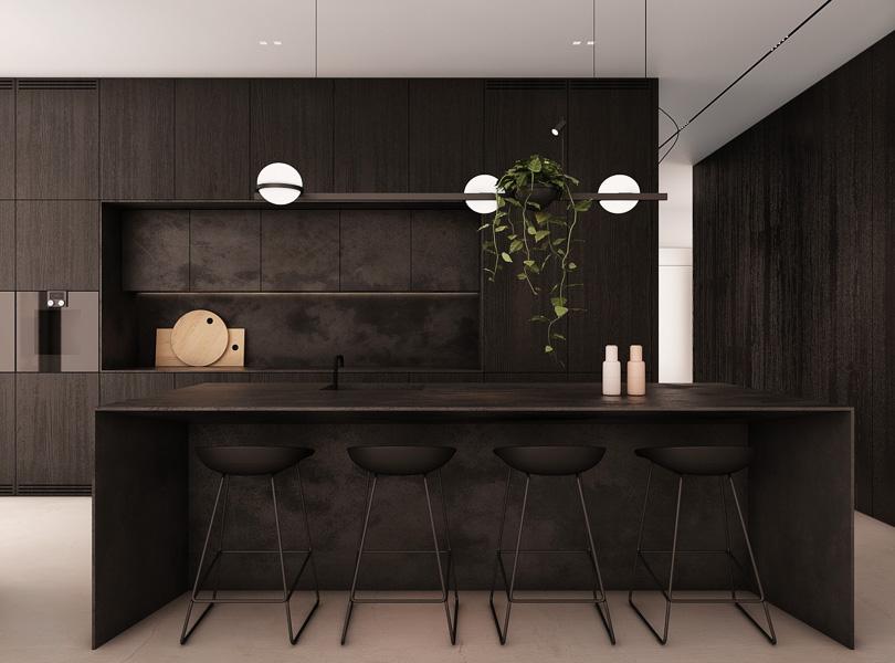 projekt kuchni z dużą wyspą, minimalistyczna zabudowa kuchni, wiszące rośliny w kuchni