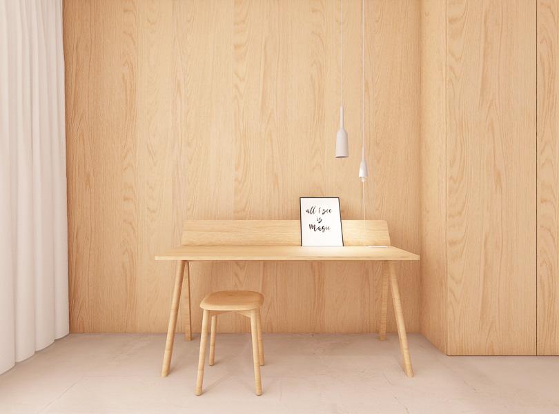 fornir dębowy w pokoju gościnnym, drewniane biurko