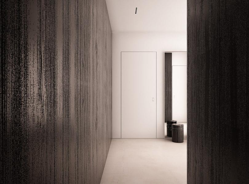minimalistyczna spiżarnia i garderoba, czarny fornir