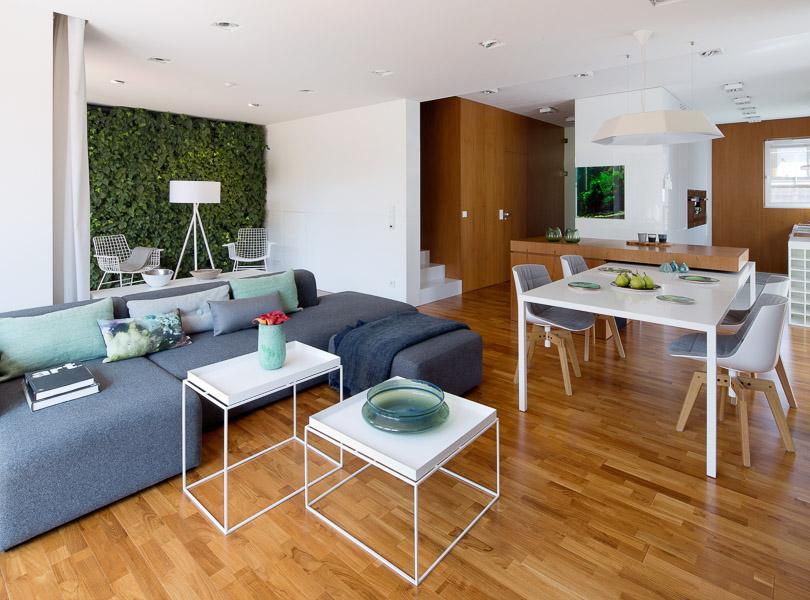 projektowanie wnętrz - dom z ogrodem wertykalnym i akwarium