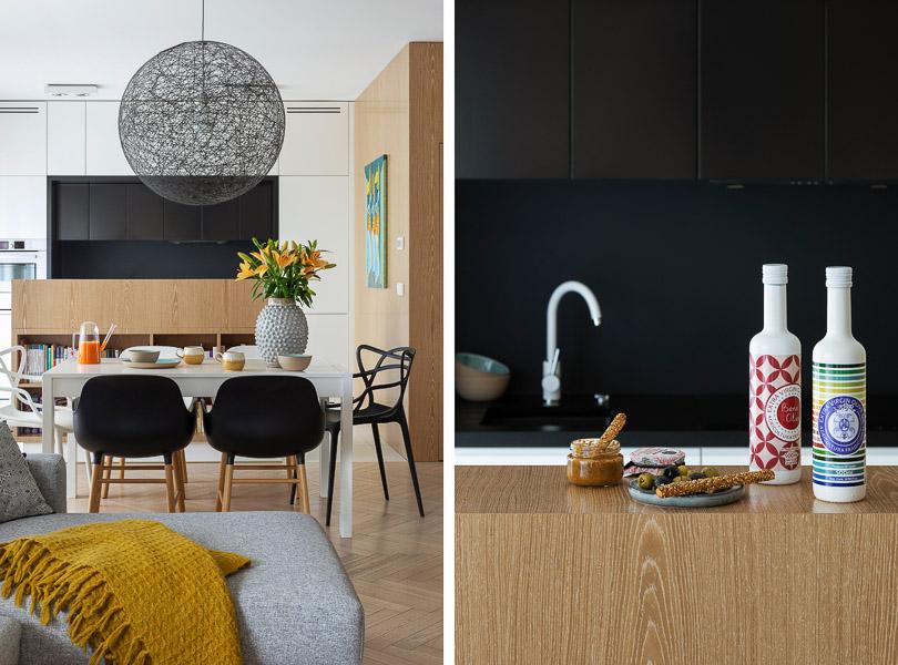 Kuchnia otwarta na salon. Zabudowa kuchenna została wykonana na zamówienie wg projektu InterYour.