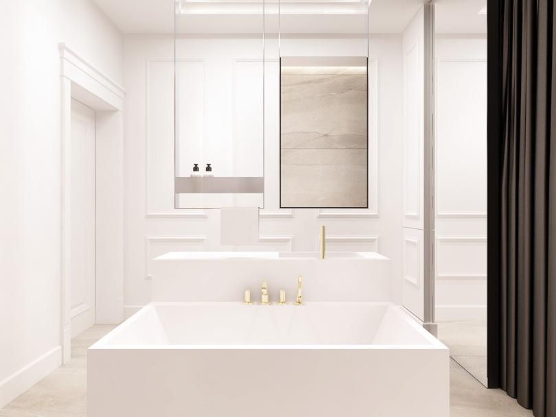 biała elegancka łazienka ze sztukaterią