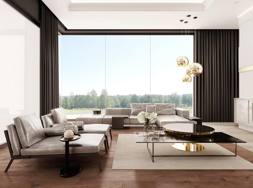 Elegancki salon w stylu nowoczesnym. Złote lampy kule na tle czarnych zasłon.