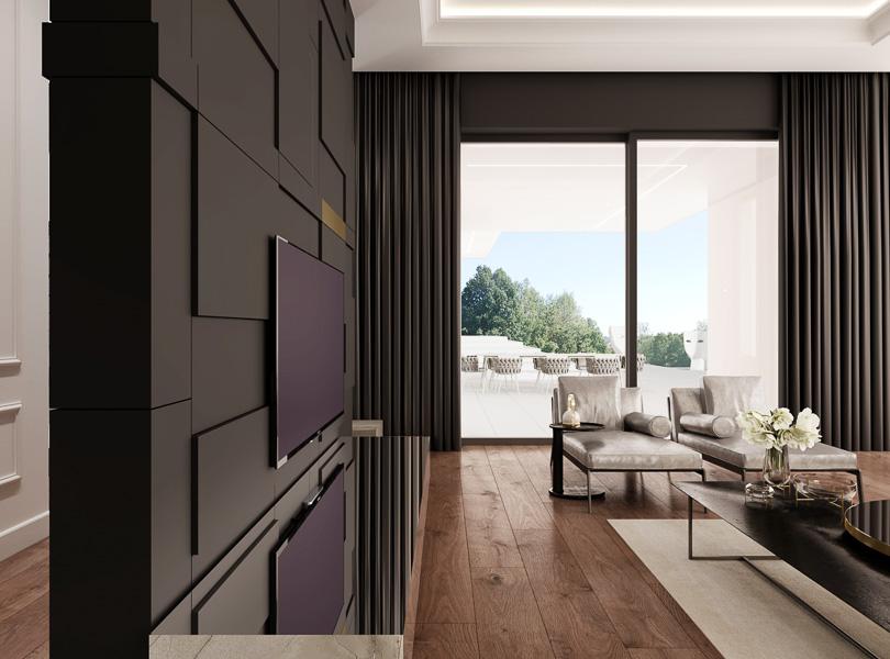 Ścianka TV i widok na taras. Czarne zasłony w eleganckim salonie.