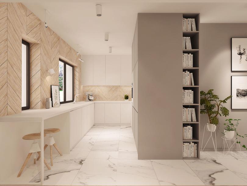 Kuchnia w skandynawskim stylu. Płytki chevron na ścianie w kuchni.