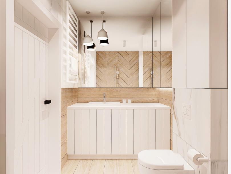 Łazienka w skandynawskim stylu. Pralka w zabudowie pod blatem w łazience. Fronty frezowane białe matowe