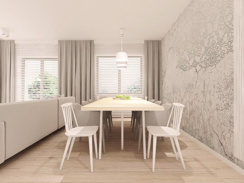 Pokój dzienny z jadalnią w skandynawskim stylu.