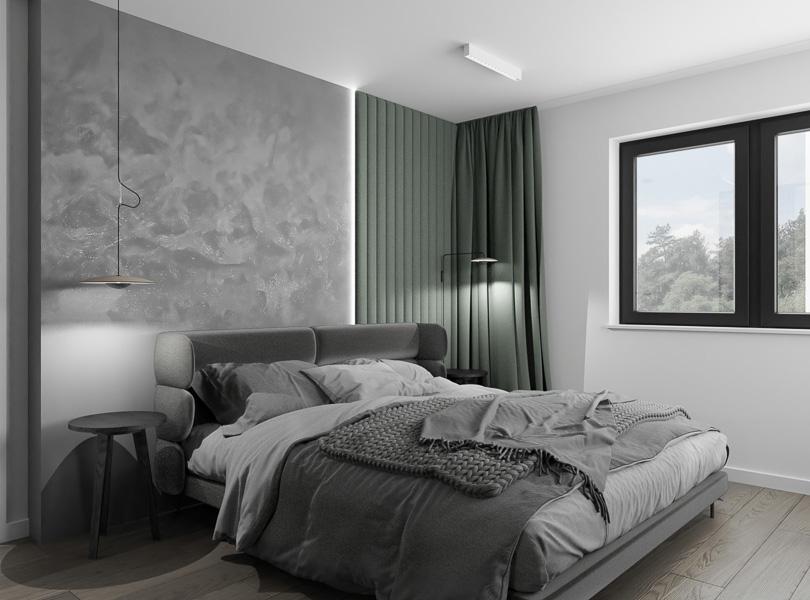 Przytulna sypialnia połączona z łazienką i garderobą.