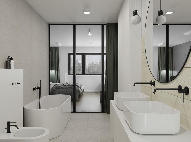 Łazienka połączona z sypialnią i garderobą.