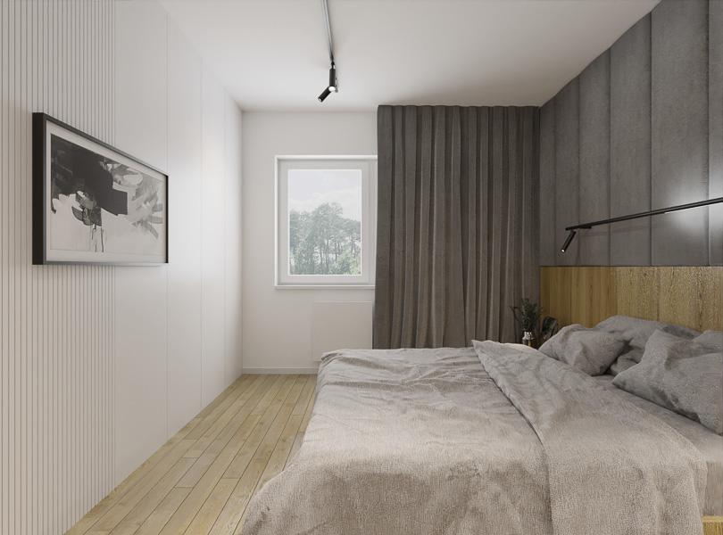 Prosta, minimalistyczna sypialnia.