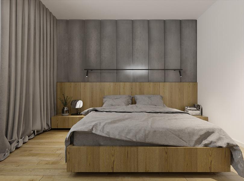 Tapicerowana ściana w sypialni.