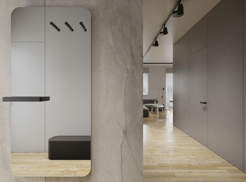 Minimalistyczny korytarz z ukrytymi drzwiami.