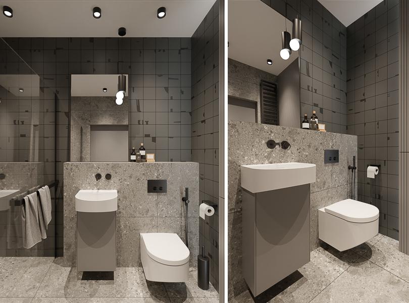 W łazience zdecydowaliśmy się na płytki lastryko raz małe kafle z graficznym wzorem.