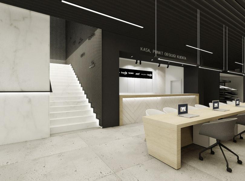 Projekt wnętrz parteru sklepu Cermag Łódź