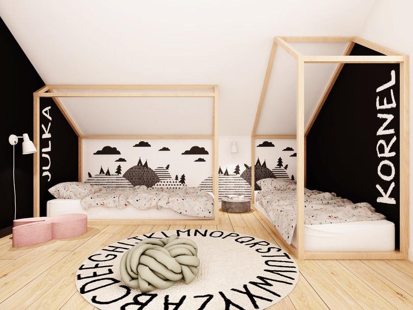 Pokój dzieci skandynawski klimat. Łóżka dla dzieci w kształcie domków.