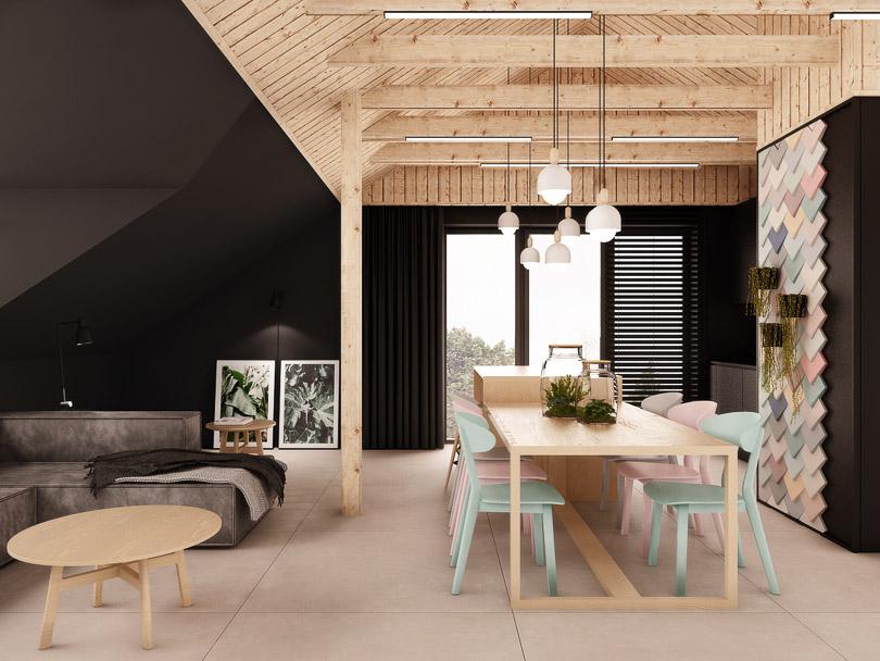 wyspa kuchenna drewniana z barkiem połączona ze stołem